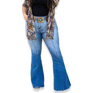 Frayed Bottom Flared Jeans PLUS SIZE